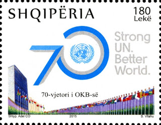 Albanian postal service unveils new stamp celebrating UN's 70th anniversary