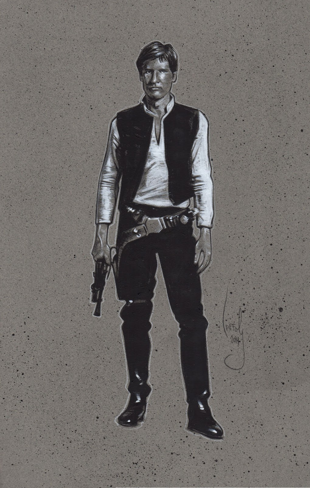 Han Solo, Harrison Ford Drawing, Artwork is Copyright © 2014 Jeff Lafferty