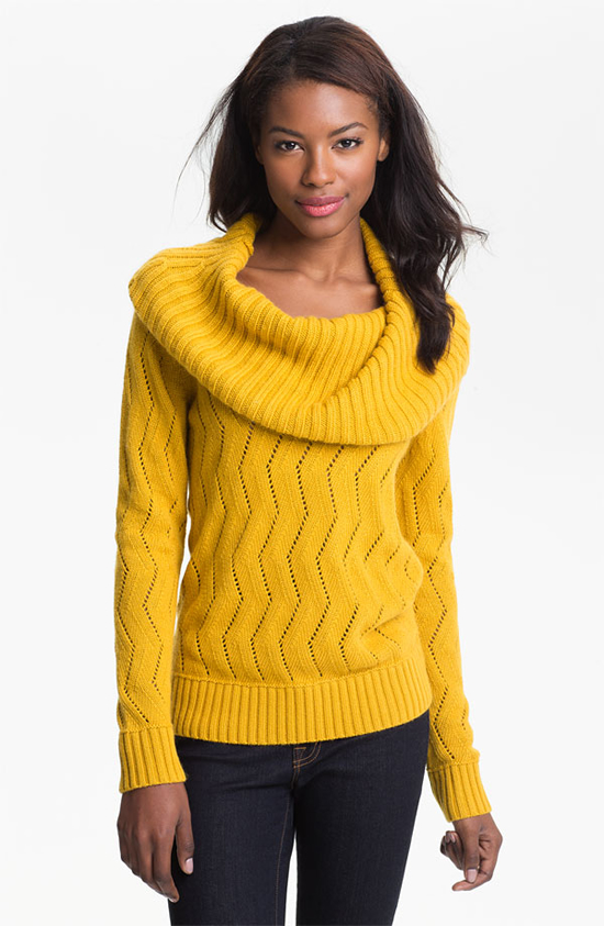 DKNYC Pointelle Cowl Neck Sweater