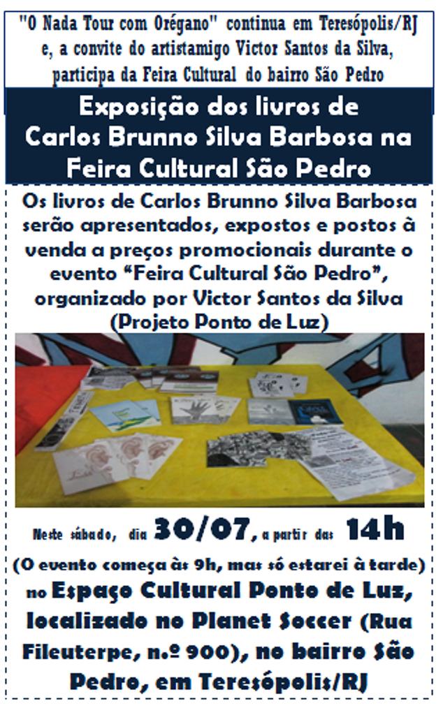 Exposição dos livros de Carlos Brunno Silva Barbosa na Feira Cultural São Pedro