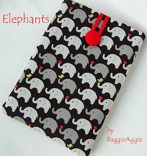 Children's kindle case, elephants, UK, red, handmade, baggieaggie.com,