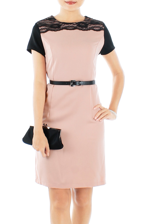 Nude Pink Graceful Lace Sheath Dress with Contrast Sleeves