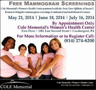 7-16 Free Mamogram Screenings