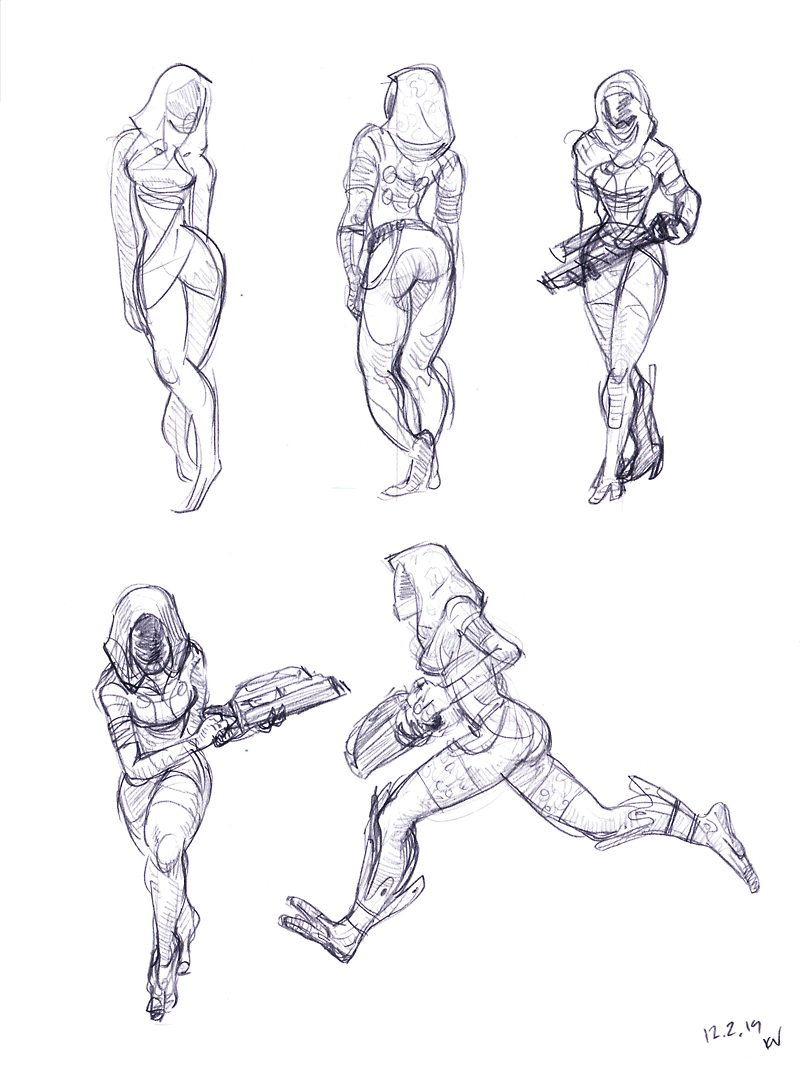 #Mass Effect #Tali #Tali'Zorah #Sketch #drawing #illustration #rough #pencil #fan #art #study #poses #character #alien #quarian #concept