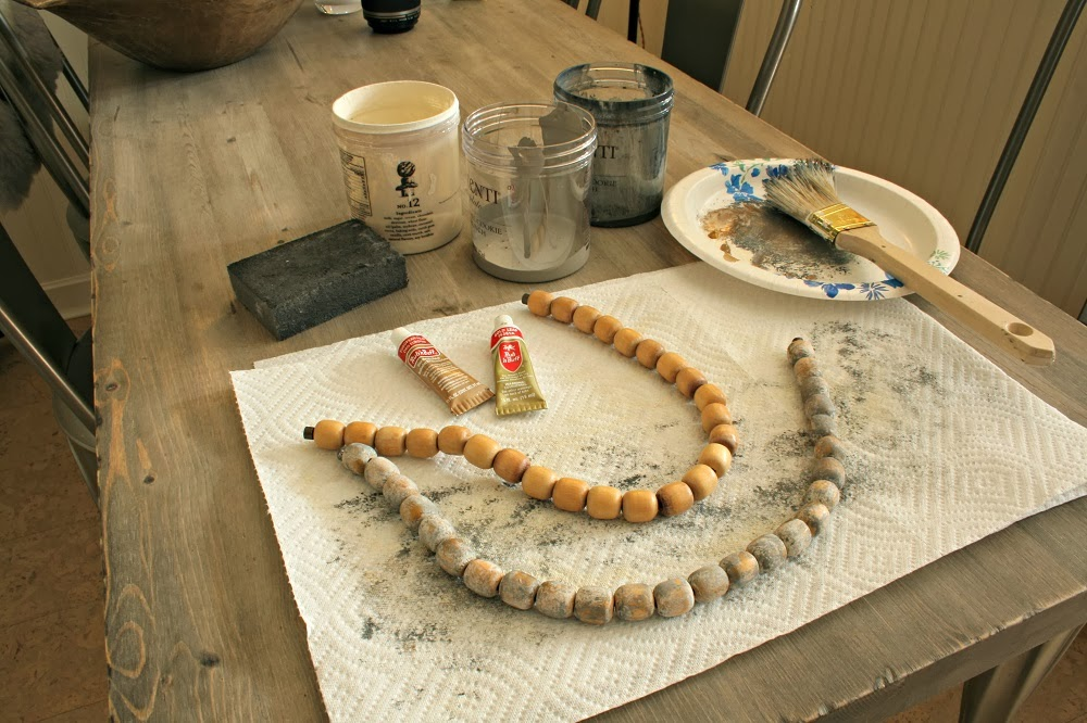 magnetic chandelier beads, Annie Sloan Paint, wood beads, dry brush, no clear wax