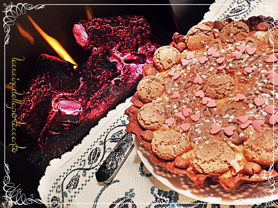crostata con frolla al cacao e farcitura alla ricotta e amaretti, senza lattosio / tart pastry with chocolate filling and ricotta and amaretti, lactose