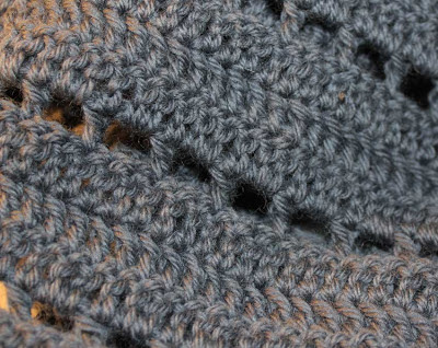 grey crocheted scarf