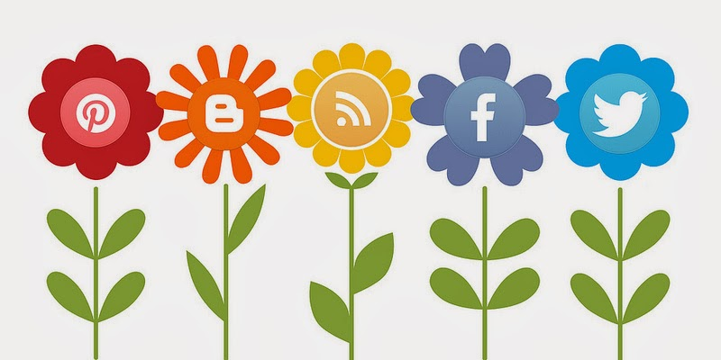 Blooming flowers with social media symbols as the centers