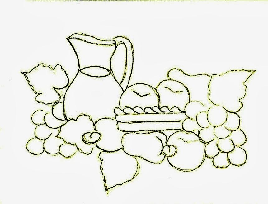 desenho de jarra de suco de frutas para pintar em semaninha de panos de copa