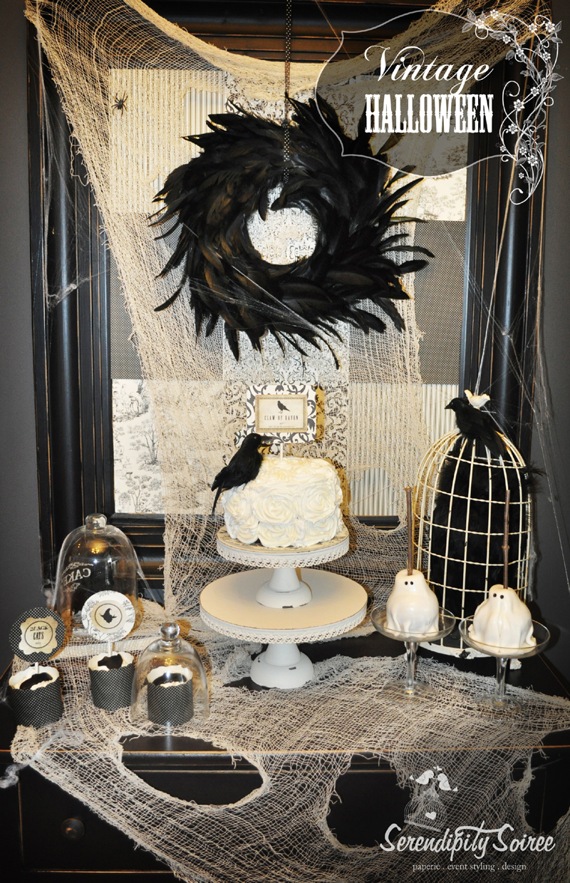 Serendipity soiree paperie event styling design - Halloween black and white ...