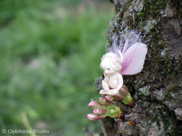 ooak micro fairy on a cherry tree