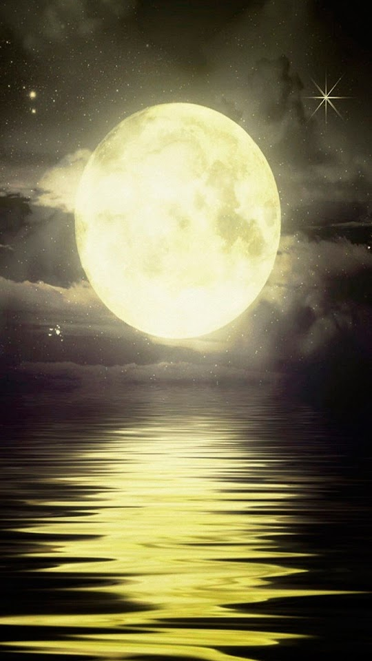 Yellow Moon Over The Sea   Galaxy Note HD Wallpaper
