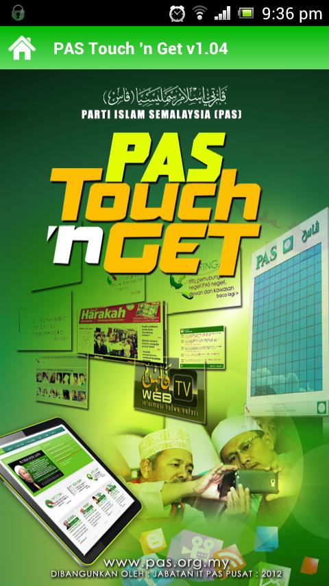 1 Laman Utama PAS Lancar Aplikasi Android Touch `n Get (TnG)