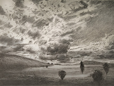Hill, Field, Clouds - Sketch, Scotland, Katherine Kean, drawing, atmospheric, clouds