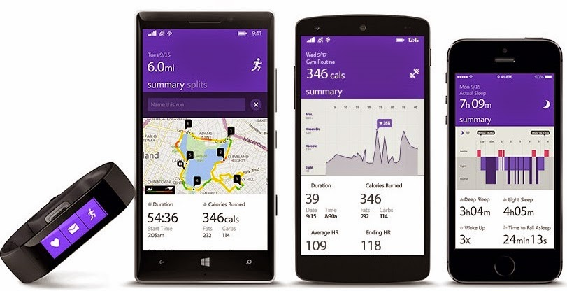 Microsoft Bands with mobile phones