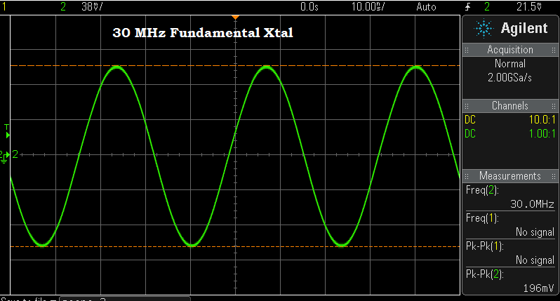 A 30 MHz fundamental crystal in the test oscillator.