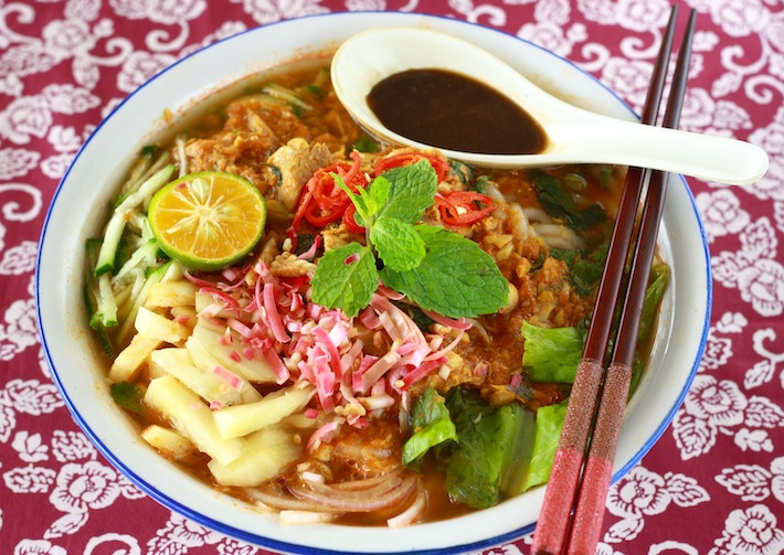 Nyonya Hot and Sour Noodles in Fish Soup | Easy Delicious Recipes