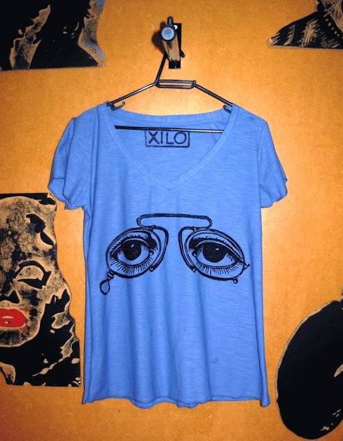 """Camiseta bata estampada em Xilogravura - Série """"Óculos"""""""