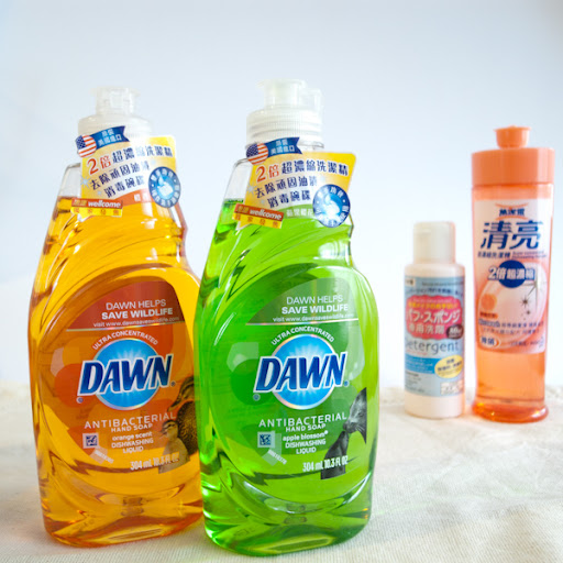 Cleaning makeup brushes with Dawn Antibacterial Hand Soap