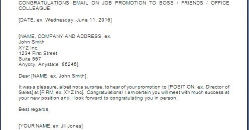 Congratulations Letter For Promotion Sample