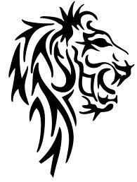 Motif Tato Singa Hitam Putih 2