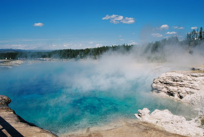 Hot Pool at Yellowstone National Park, geothermal feature blue