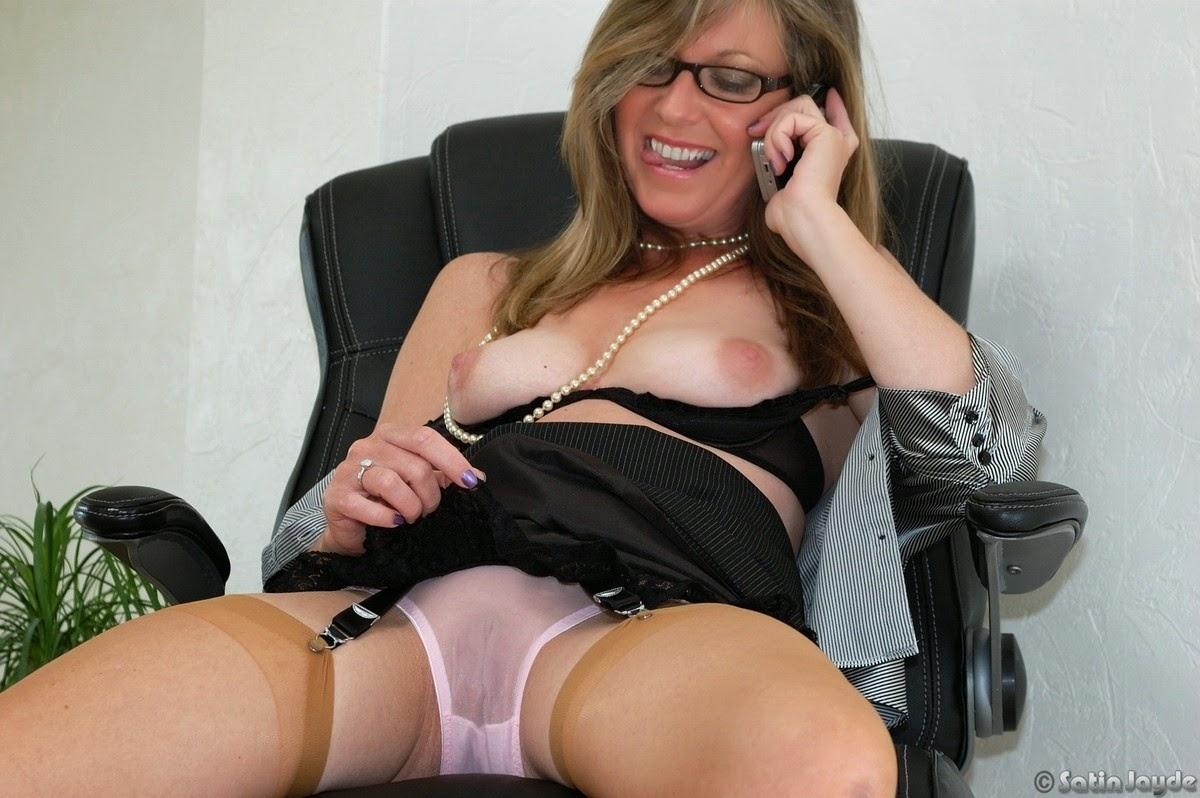 Women Sexy secretaries in white panties