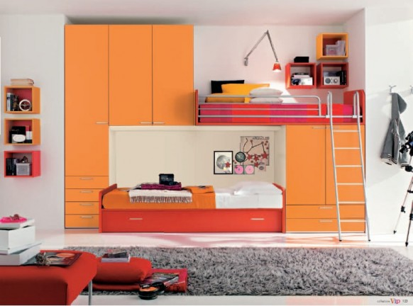 Modern house orange modern kid 39 s room designs for Modern kids furniture