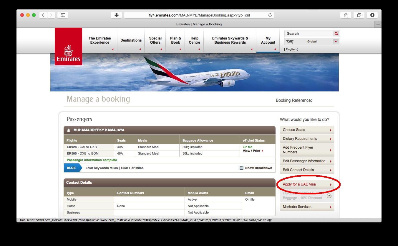 Mengurus Visa UAE Secara Online Melalui Emirates.com