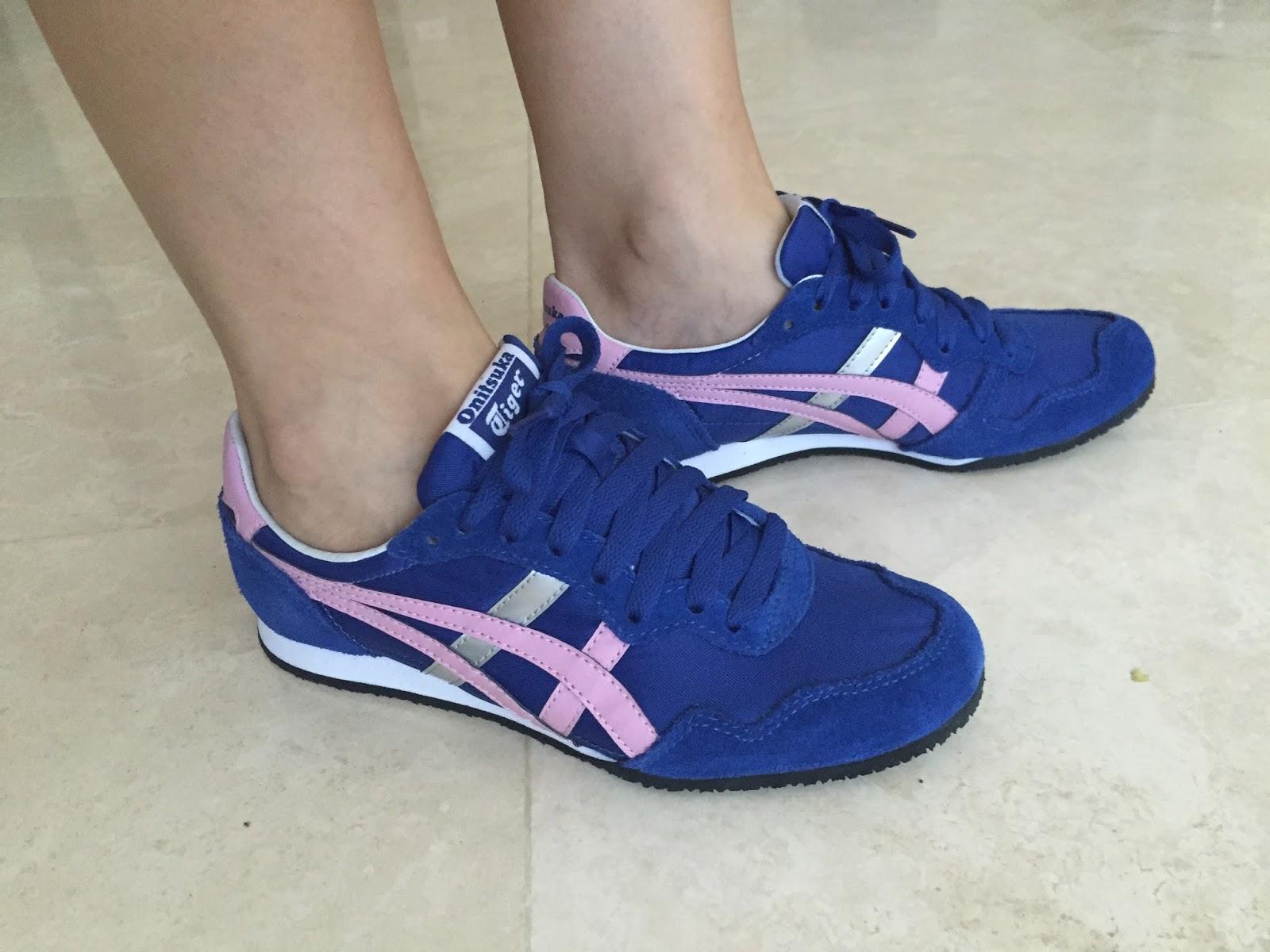 onitsuka tiger asics blue and pink