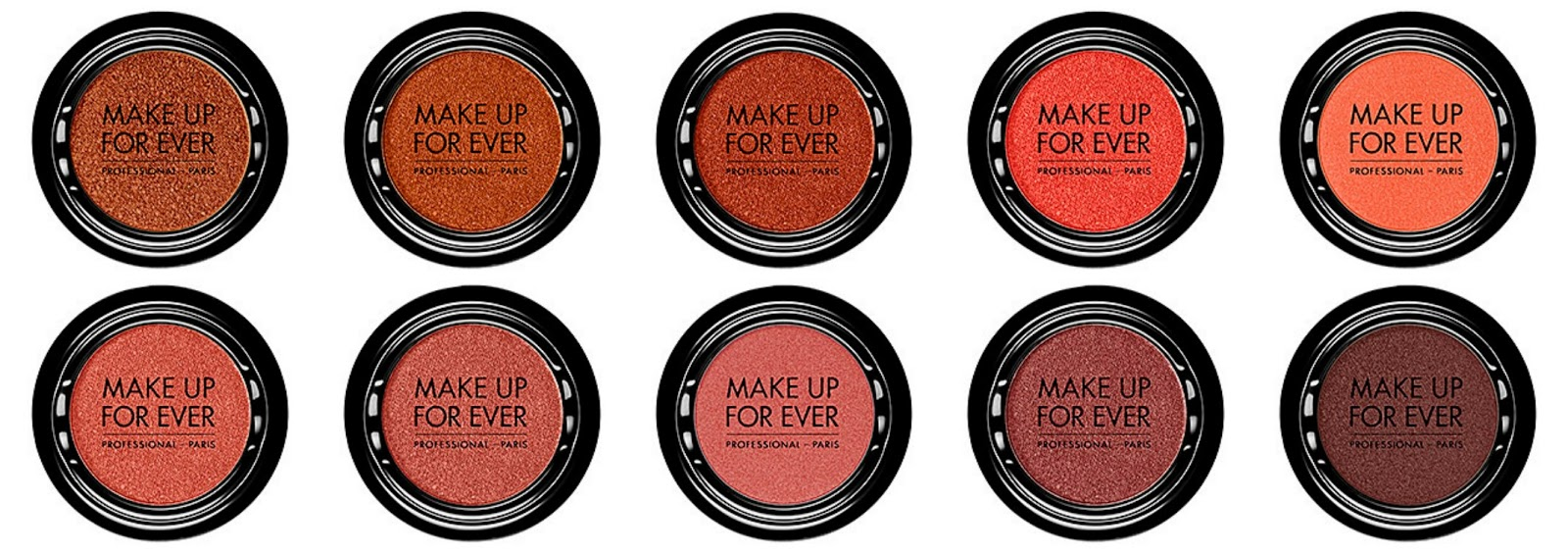 Make Up For Ever Artist Shadow Top from left: I724 Rust; I730 Pumpkin; I736 Copper Red; I746 Watermelon; I752 Electric Coral Bottom from left: I802 Coral Pink; I804 Golden Pink; I808 English Pink; I824 Ocher Pink; I834 Grape