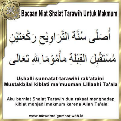 Bacaan Niat Shalat Tarawih Untuk Makmum