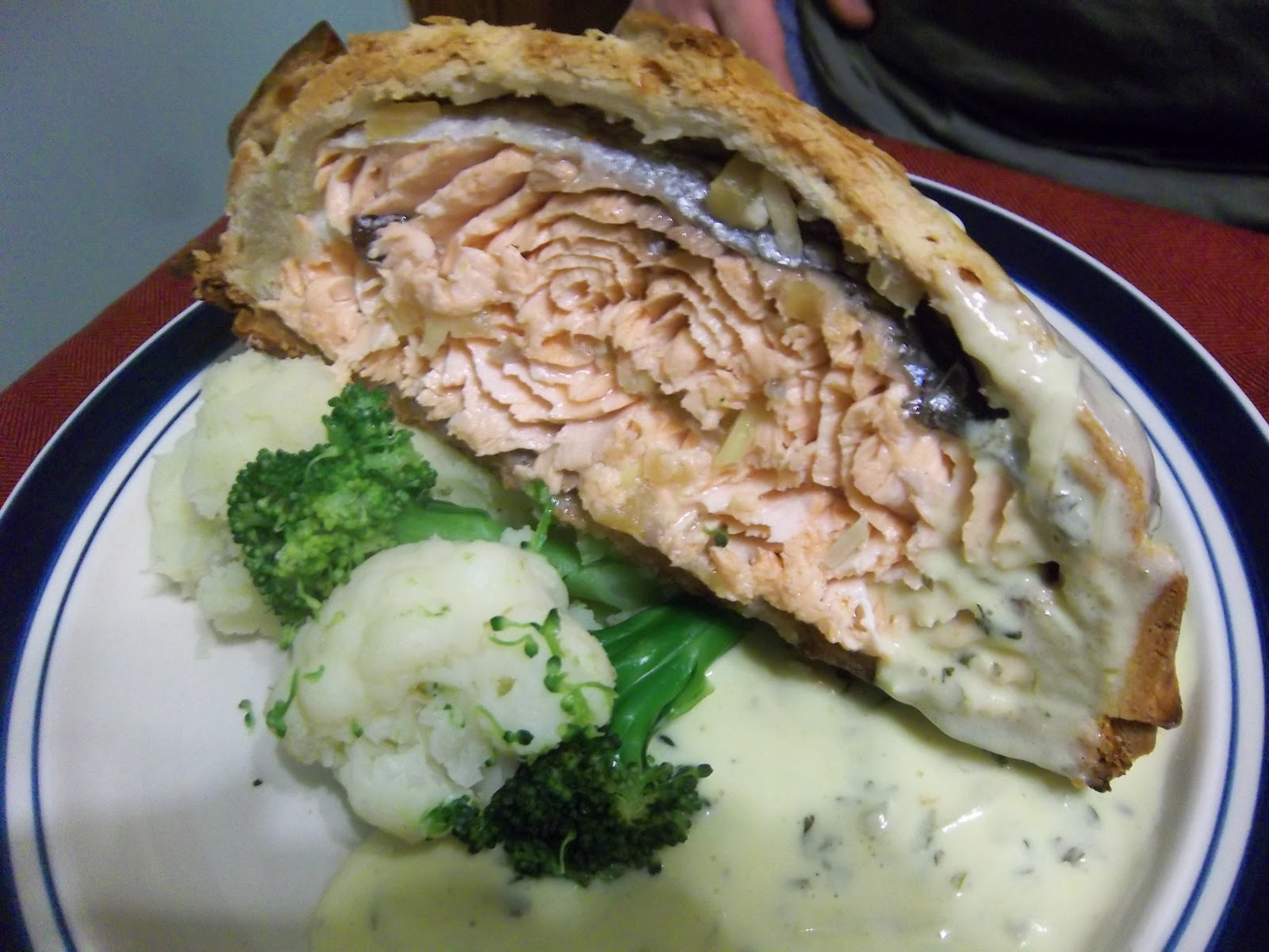 of salmon creamy herb garlic sauce an image of skate with green skate ...