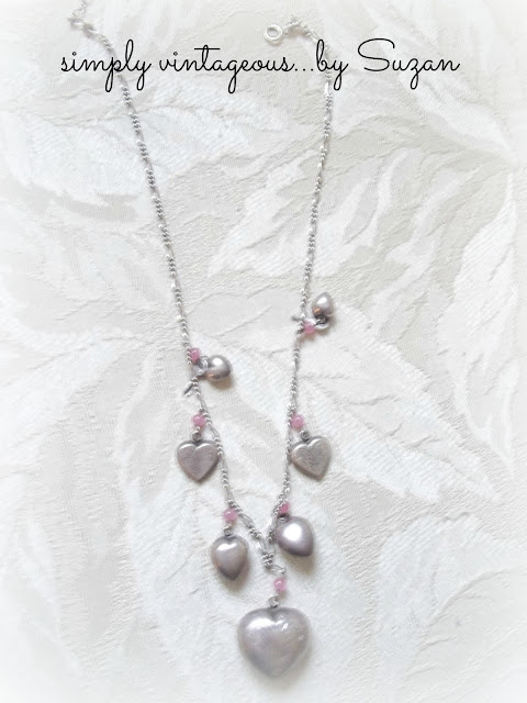 silver, hearts, necklace, pink