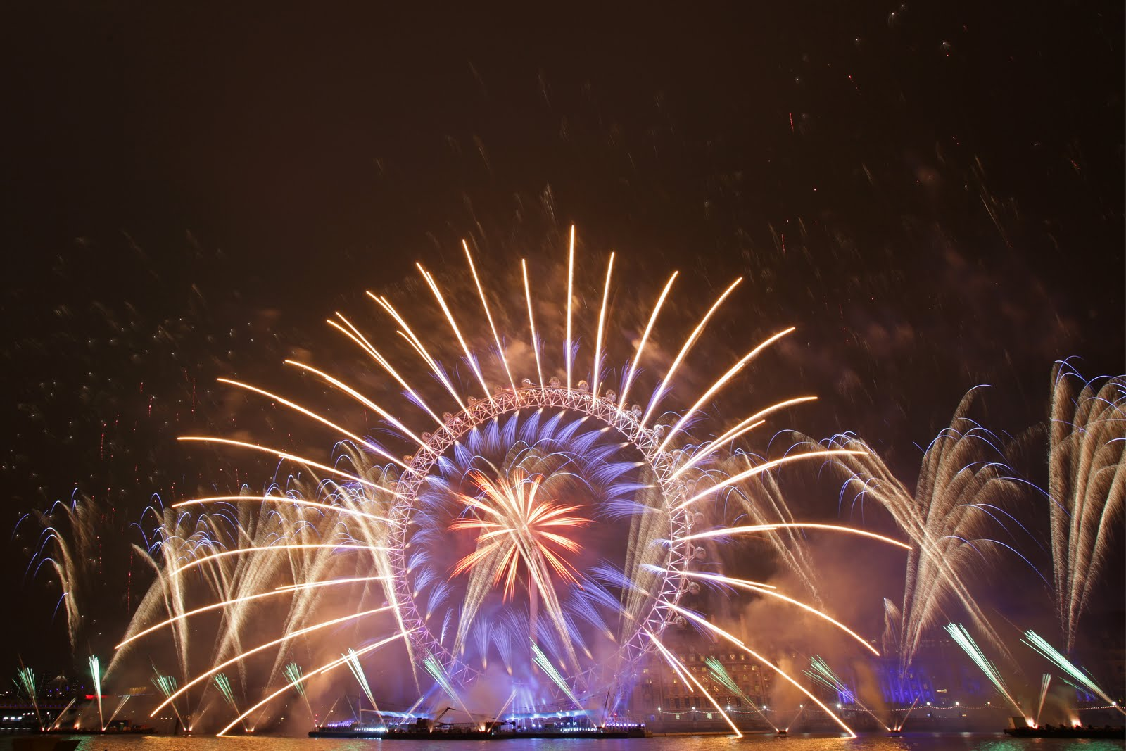 London Eye with fireworks