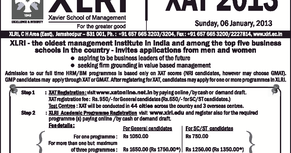 Xat 2013 Notification Amp Important Dates