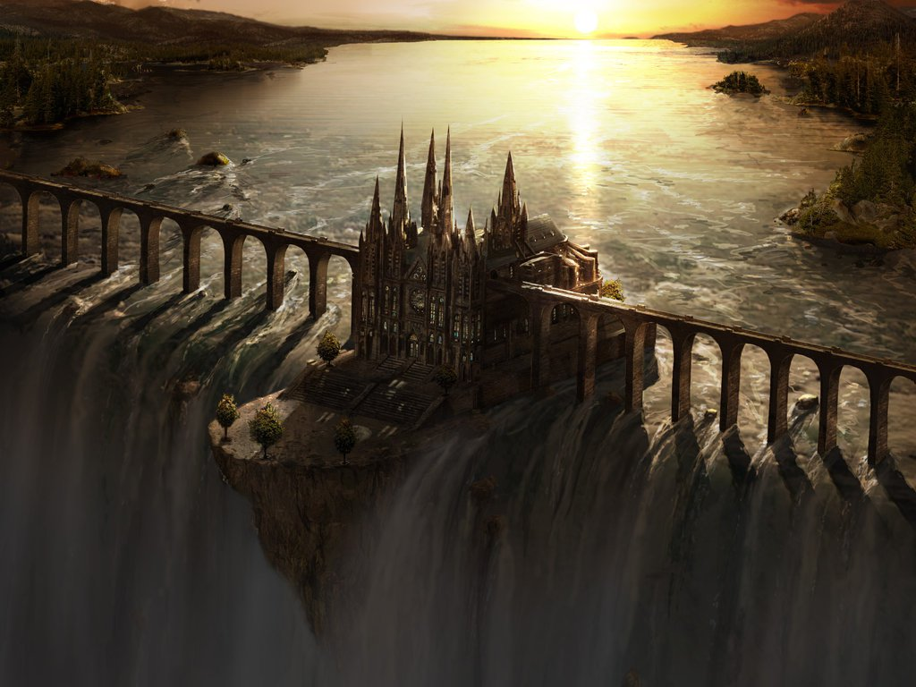 Castle build where the world ends surrounded by water