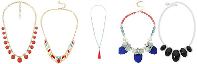 Charlotte Russe Neon Faceted Stone Choker Necklace $4.00 (regular $6.00)  Mixit Multicolor Bright Flower and Crystal Statement Necklace $15.40 (regular $22.00)  Mixed Bead and Tassel Necklace $18.00 (regular $26.00)  Blue NYC Coral and Blue Stone Collar Statement Necklace $21.00 (regular $30.00)  Liz Claiborne Silver Tone Black Oval Stone Frontal Necklace $21.00 (regular $30.00)