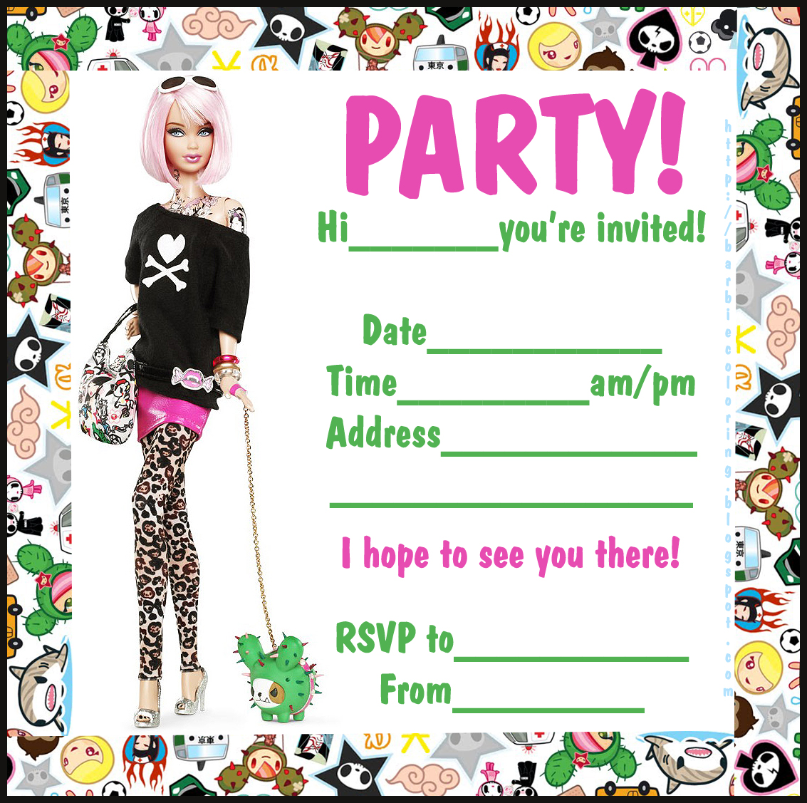 Girls birthday party invitation template militaryalicious girls birthday party invitation template filmwisefo