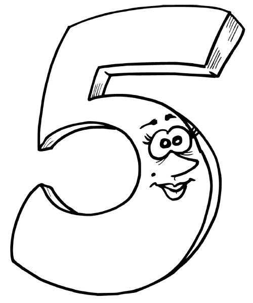 Free Printable Number 5 Coloring Pages