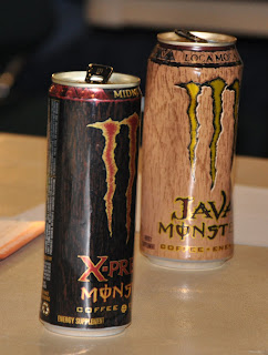 Picture of alcoholic and non-alcoholic energy drink.