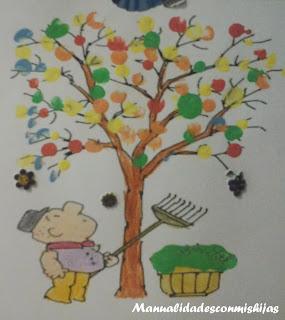 Árbol de otoño con pintura de dedos