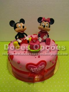 Bolo com o Mickey e a Minnie para o 4º aniversário da Inês