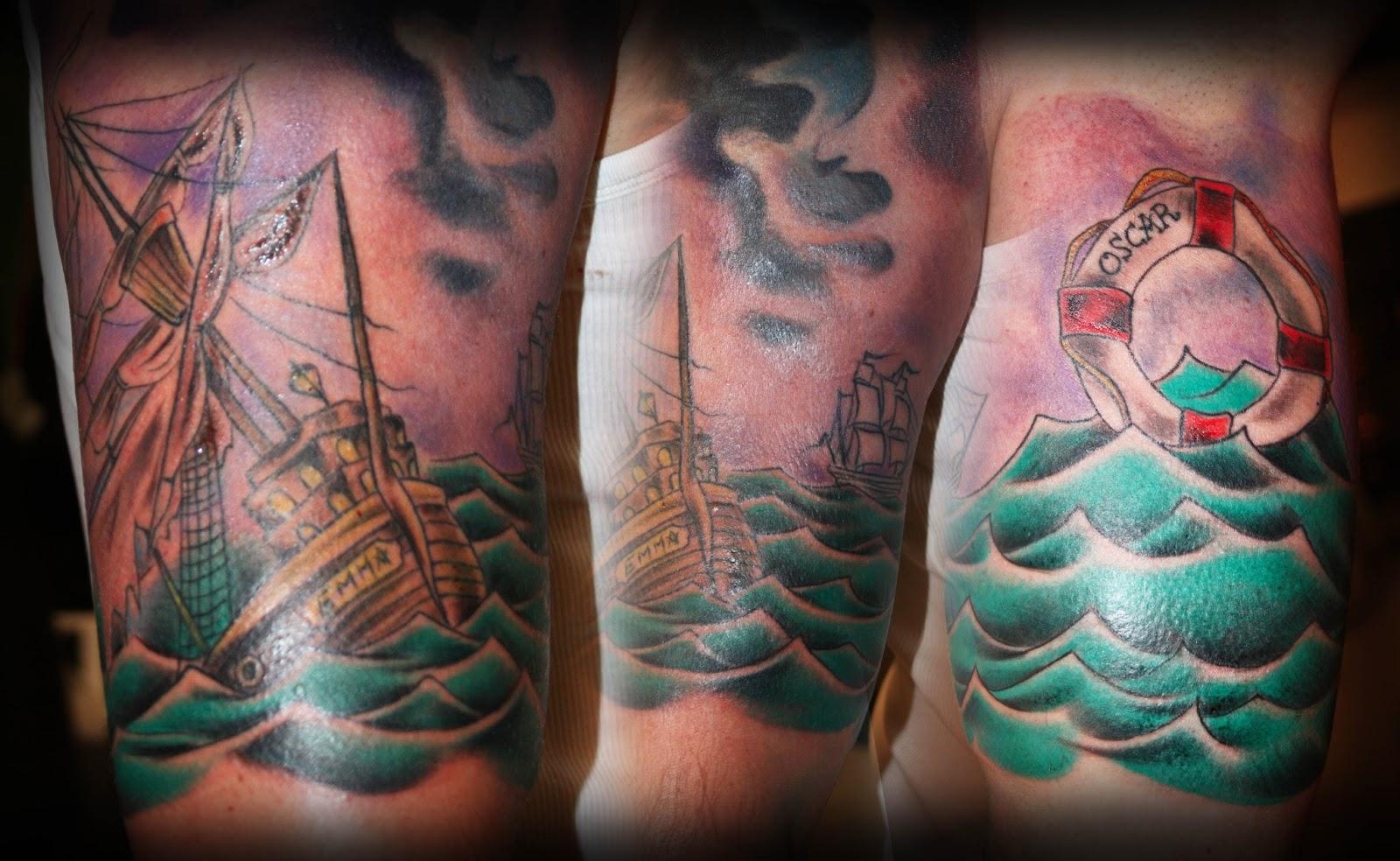 Little bird tattoo in progress troll sinking ship tattoo for Sinking ship tattoo