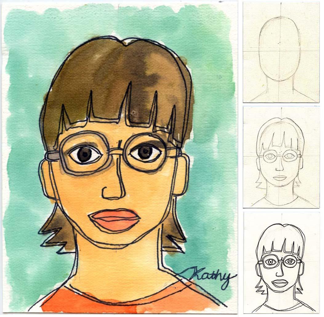 Line Art Portrait : Self portrait line drawing plus watercolor art projects