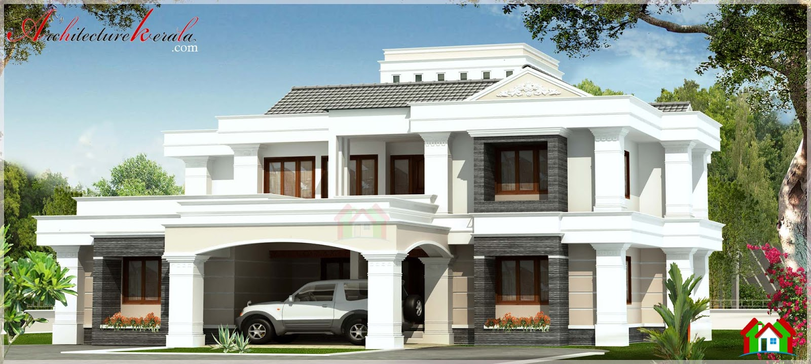 Contemporary style kerala house elevation architecture for Elevation of kerala homes