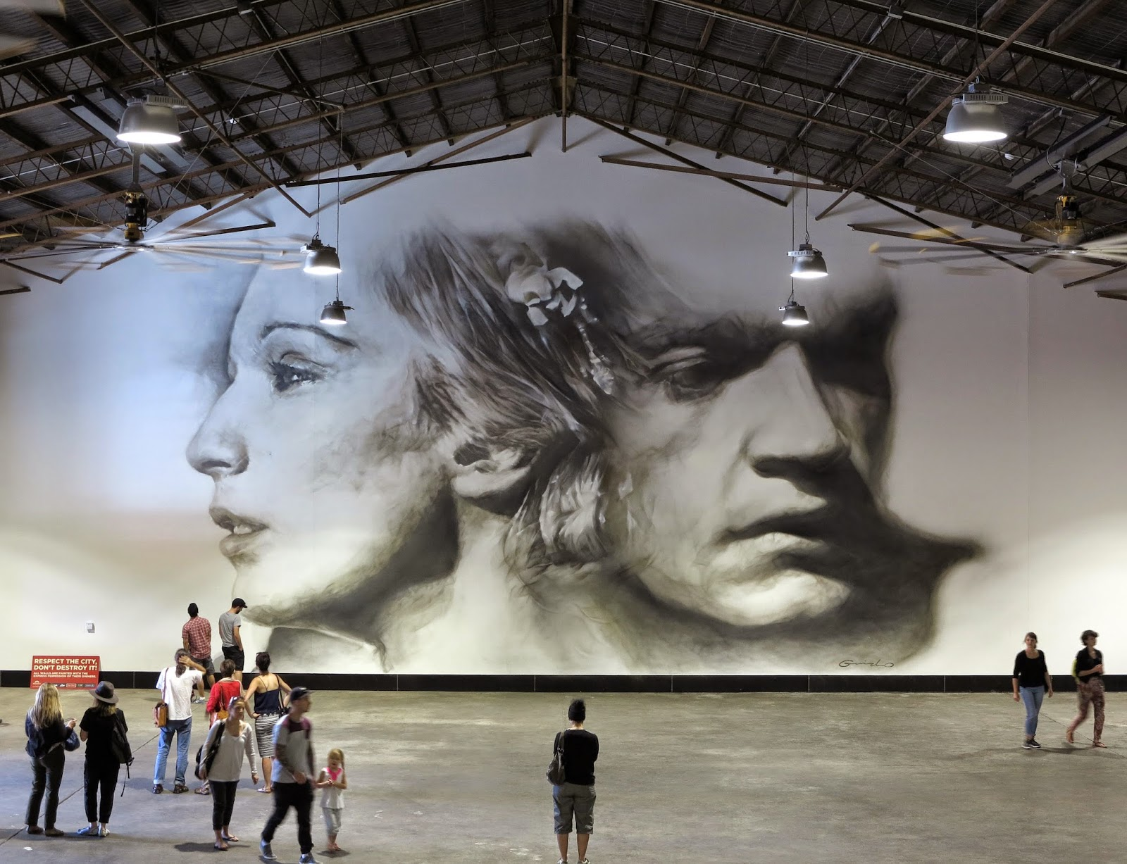 Guido Van Helten is currently in Australia where he was invited by WonderWalls to work on a new indoor piece in Port Adelaide.