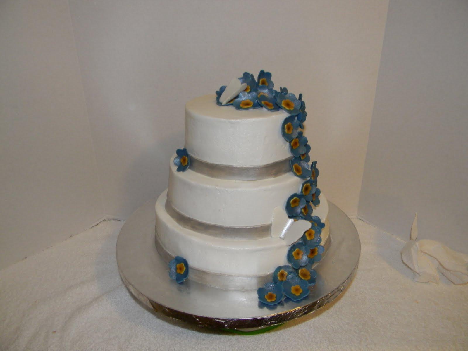 Custom Cakes by Christy Blue Flower 3 Tier Wedding Bridal