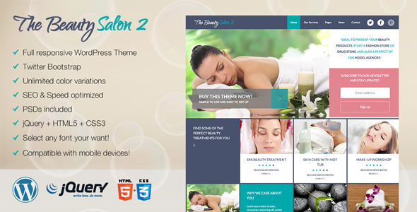 Premium WordPress Theme for Salon or Healthcare