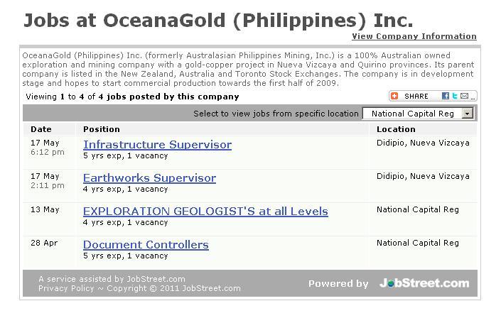 More Job Vacancies at OceanaGold Philippines, Inc.!